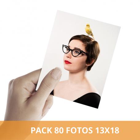 Pack impresión 80 fotos 13x18 cm. Revelado en papel fotográfico
