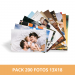 Pack impresión 200 fotos 13x18 cm. Revelado en papel fotográfico