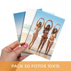 Pack impresión 50 fotos 10x15 cm. Revelado en papel fotográfico